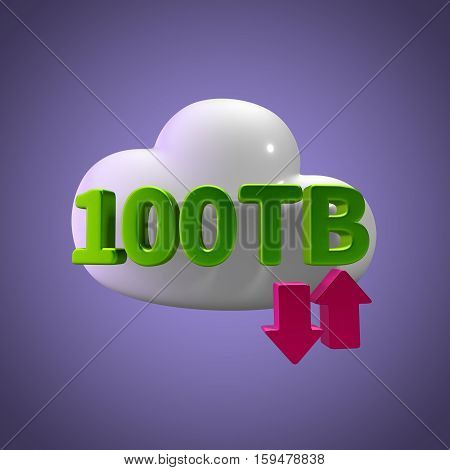 3D Rendering Cloud Data Upload Download illustration 100 TB Capacity