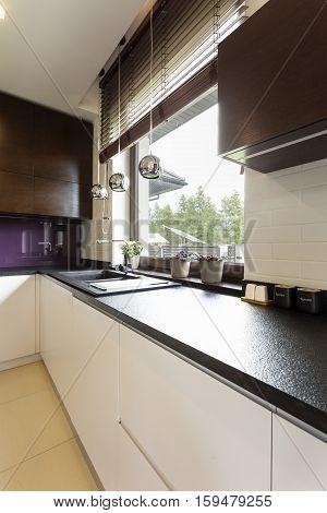 Kitchen Corner With Dark Worktop