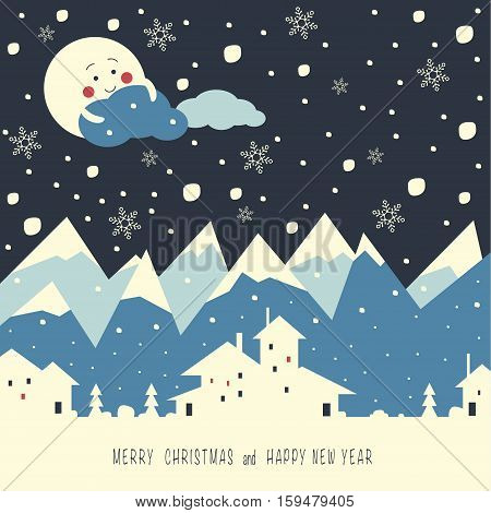 The cover design. Depicts a snow mountains, night, moon, clouds, christmas trees and a village. Phrase merry Christmas and a happy New year.