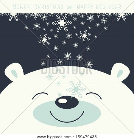 The cover design. Depicts face smile little polar bear on the dark background. The falling snowflakes on the face polar bear. Phrase merry Christmas and a happy New year.