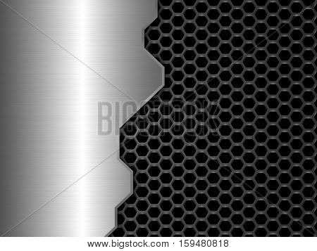 Silver and black metal background, Honeycomb pattern, Abstract vector illustration