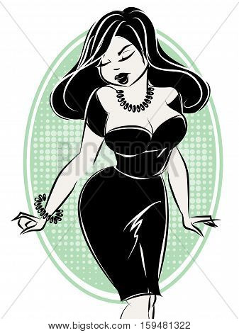 Black And White Pin-up Sexy Woman, Hand Drawn Vector Illustration
