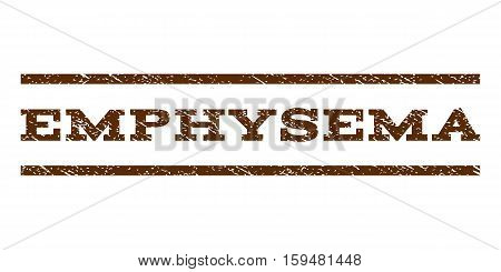 Emphysema watermark stamp. Text caption between horizontal parallel lines with grunge design style. Rubber seal brown stamp with dust texture. Vector ink imprint on a white background.
