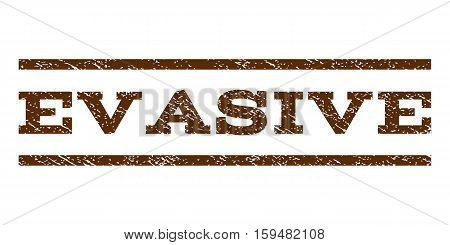 Evasive watermark stamp. Text tag between horizontal parallel lines with grunge design style. Rubber seal brown stamp with dust texture. Vector ink imprint on a white background.