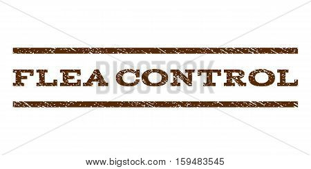 Flea Control watermark stamp. Text caption between horizontal parallel lines with grunge design style. Rubber seal brown stamp with scratched texture. Vector ink imprint on a white background.
