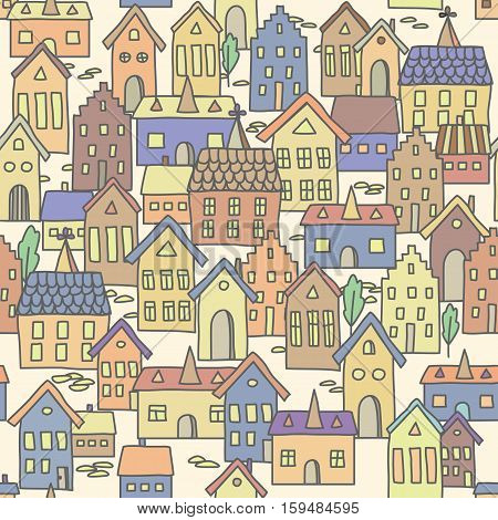 Vector seamless pattern background with european houses in pale colors. For decoration for your design textile and more.