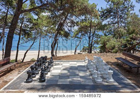 Outdoor game of big chessboard in the resort of Skala Kefalonia