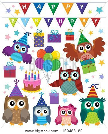 Party owls theme set 1 - eps10 vector illustration.