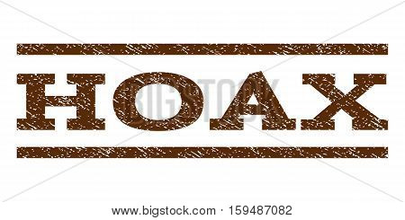 Hoax watermark stamp. Text tag between horizontal parallel lines with grunge design style. Rubber seal brown stamp with dirty texture. Vector ink imprint on a white background.