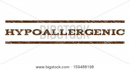 Hypoallergenic watermark stamp. Text caption between horizontal parallel lines with grunge design style. Rubber seal brown stamp with dust texture. Vector ink imprint on a white background.