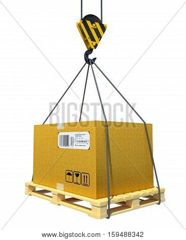 Pallet with cardboard lifted by crane. 3d illustration