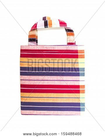 Handmade cotton Bag is beautiful color on white background.