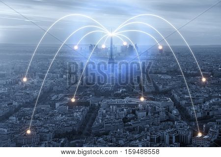 Wifi icon and Paris city with network connection concept Paris smart city and wireless communication network abstract image visual internet of things.