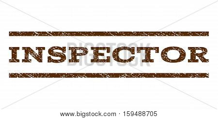 Inspector watermark stamp. Text tag between horizontal parallel lines with grunge design style. Rubber seal brown stamp with dirty texture. Vector ink imprint on a white background.