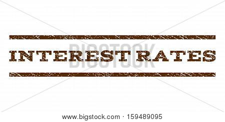 Interest Rates watermark stamp. Text tag between horizontal parallel lines with grunge design style. Rubber seal brown stamp with dust texture. Vector ink imprint on a white background.