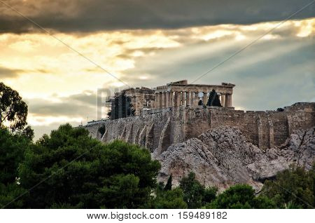 Parthenon temple on Acropolis Hill in Athens Greece. Shot in golden hour