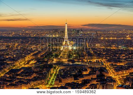 PARIS FRANCE - May 5 2016: Beautiful view Eiffel tower during light show at dusk Paris France.