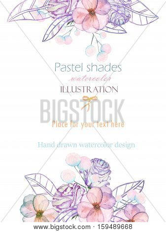 Template postcard with with watercolor tender flowers and leaves in pastel shades, hand drawn on a white background, for invitation, card decoration and other works, wedding design, greeting card