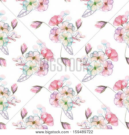 Seamless pattern with isolated watercolor floral bouquets from tender flowers and leaves in pink and purple pastel shades, hand drawn on a white background poster