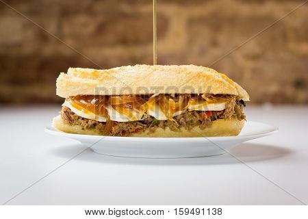 Meat Sandwich With Sweet Onion And Goat Cheese