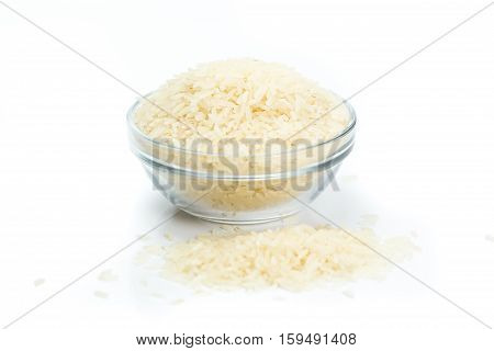 recipient of white Rice on white background