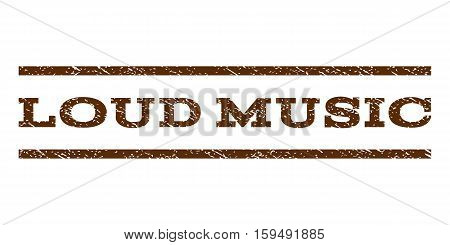 Loud Music watermark stamp. Text caption between horizontal parallel lines with grunge design style. Rubber seal brown stamp with scratched texture. Vector ink imprint on a white background.