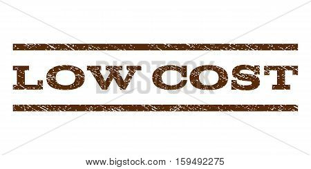 Low Cost watermark stamp. Text caption between horizontal parallel lines with grunge design style. Rubber seal brown stamp with unclean texture. Vector ink imprint on a white background.