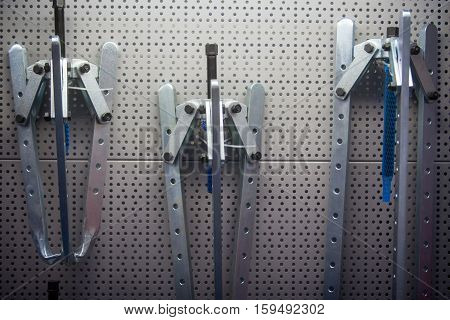 Close up shot of some pullers on a wall.