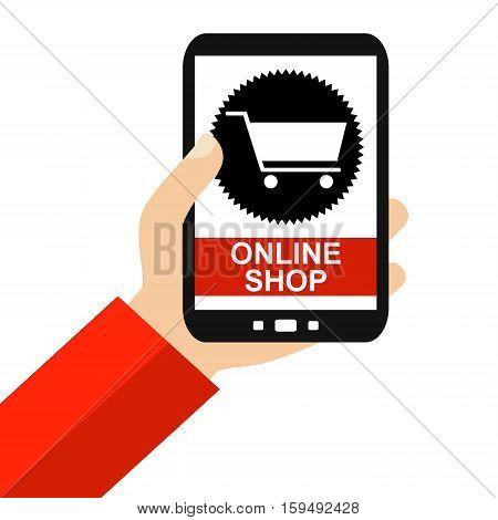 Hand holding Smartphone: Onlineshop - Flat Design