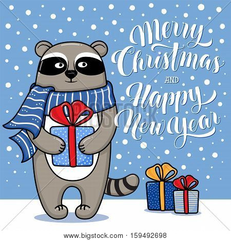 Merry Christmas and Happy New Year greeting card with raccoon, gifts, snow and lettering, cartoon vector illustration. Christmas and New Year card, invitation, poster, banner design with a raccoon