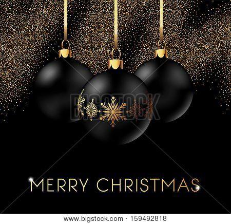Elegant Christmas Card Template with Shining Decoration Balls. Vector illustration