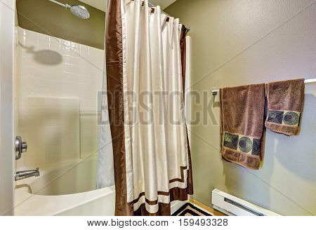 Bathroom Detail. Tub And Shower Combo With A Curtain