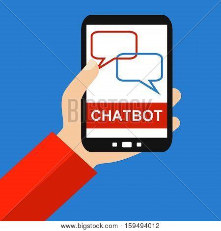 Hand holding Smartphone: Chatbot - Flat Design