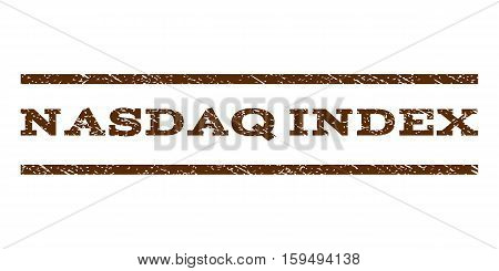 Nasdaq Index watermark stamp. Text tag between horizontal parallel lines with grunge design style. Rubber seal brown stamp with dust texture. Vector ink imprint on a white background.