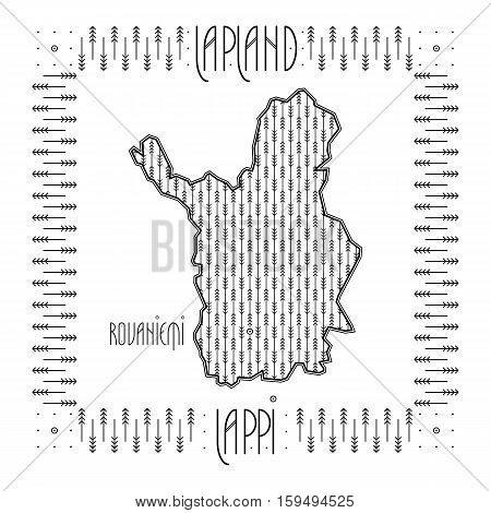 Map of Finnish Lapland region with names of the region and its main city in English and Finnish. Concept for a Visit Finland brochure in Nordic art deco style. Vector illustration.