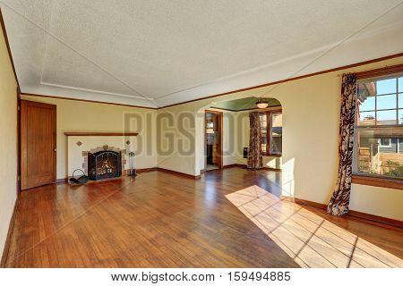 Empty Living Room Interior Of Tudor Style Home