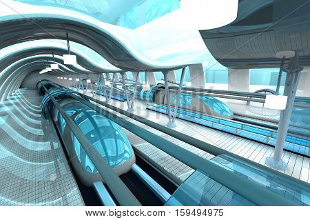A futuristic subway or train station. 3D architecture visualization.