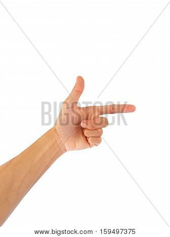 Using hand gestures gun or accurate or right