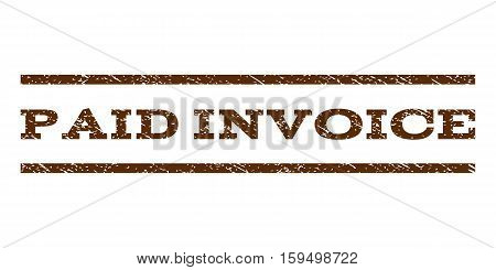 Paid Invoice watermark stamp. Text caption between horizontal parallel lines with grunge design style. Rubber seal brown stamp with dust texture. Vector ink imprint on a white background.