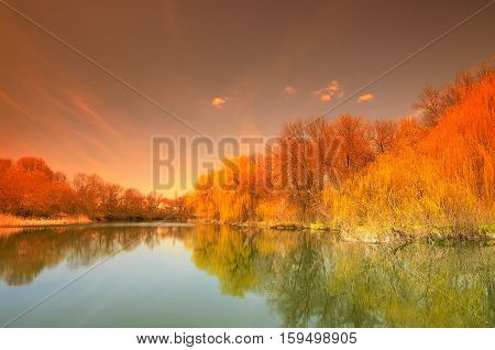 the a Landscape with reflexion in water