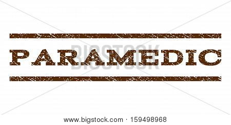 Paramedic watermark stamp. Text tag between horizontal parallel lines with grunge design style. Rubber seal brown stamp with dirty texture. Vector ink imprint on a white background.