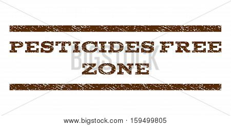 Pesticides Free Zone watermark stamp. Text tag between horizontal parallel lines with grunge design style. Rubber seal brown stamp with unclean texture. Vector ink imprint on a white background.