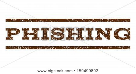 Phishing watermark stamp. Text tag between horizontal parallel lines with grunge design style. Rubber seal brown stamp with scratched texture. Vector ink imprint on a white background.