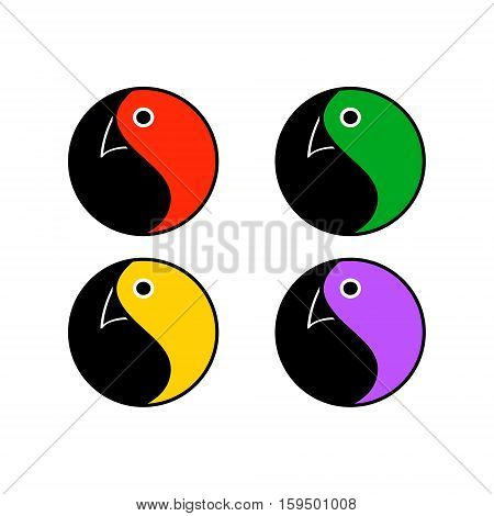Emblem Tao - parrot. A symbolic logo with a bird head set of vector illustrations