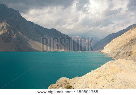 Beautiful Laguna Negra In Canyon Maipo, Chile, South America