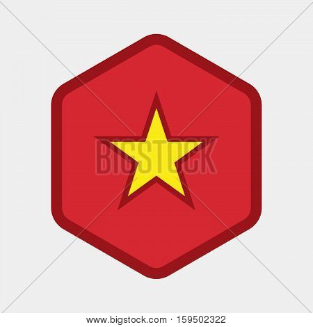 Isolated Hexagon With  The Red Star Of Communism Icon