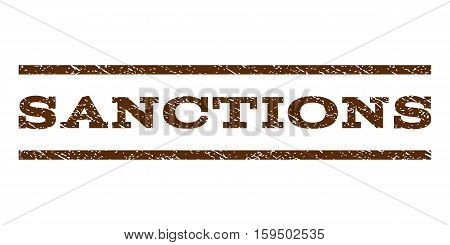 Sanctions watermark stamp. Text tag between horizontal parallel lines with grunge design style. Rubber seal brown stamp with dirty texture. Vector ink imprint on a white background.