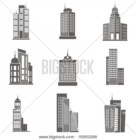 Vector illustrations of skyscrapers.