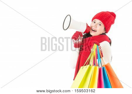 Happy Asian Woman Holding Gifts And Megaphone