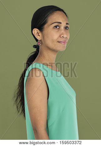 Woman Cheerful Studio Portrait Concept poster
